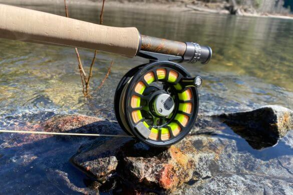 This photo shows a close up of the Orvis Hydros Fly Reel on the Orvis Recon Fly Rod.
