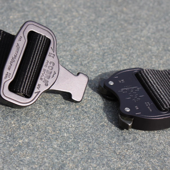 This photo shows a Klik Belt with a COBRA buckle that is unbuckled.