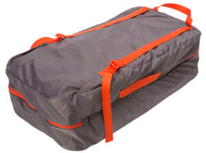 This photo shows the backpack-style carry bag for the Big Agnes Big House Tent.