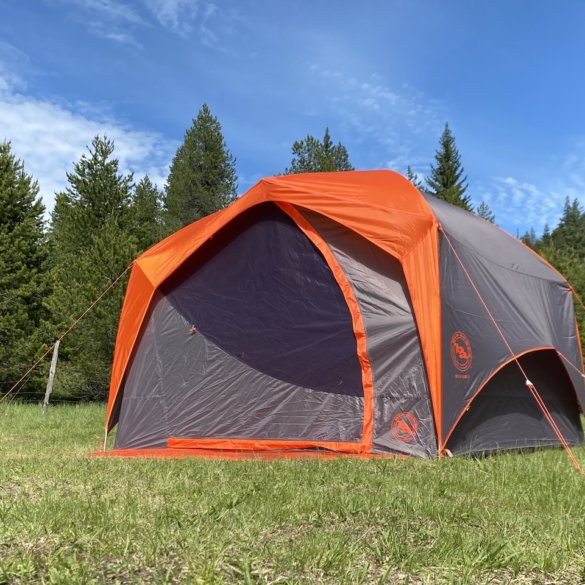 This photo shows the Big Agnes Big House 4 Tent set up at a dispersed camping spot for testing and review.