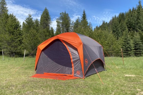This review photo shows the Big Agnes Big House 4 Tent set up at a camping site for testing and review.