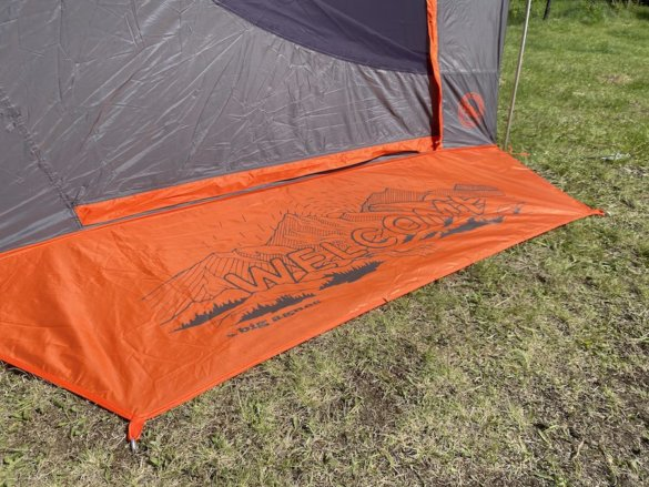 This photo shows the unique built-in welcome mat on the Big House Tent.