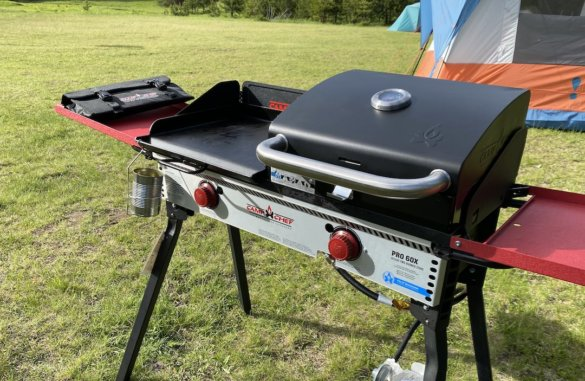 This review photo shows the Camp Chef Griddle and BBQ Grill Box on the Pro 60X.