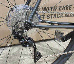 This photo shows the rear drivetrain on the Cannondale Topstone AL 105 gravel bike.