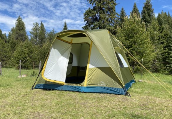 This photo shows the LLBean Acadia Tent with the door open.