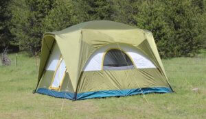 This photo shows the Acadia 6-person tent setup and ready for camping.