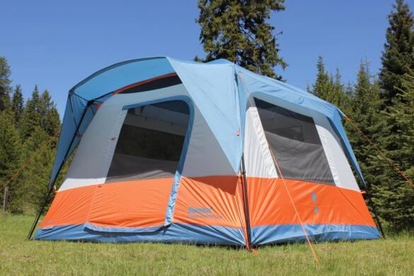 This review photo shows the Eureka! Copper Canyon LX 6 Tent setup with the rainfly on.