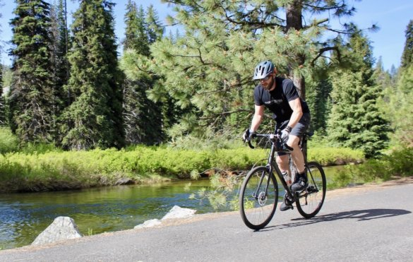 This review photo shows the author testing the Cannondale Topstone AL 105 gravel bike on a backcountry road in Idaho.
