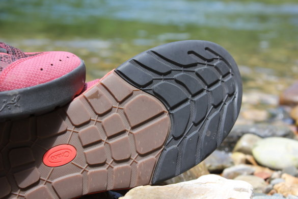 This photo shows a closeup of the rubber sole on the Chaco Torrent Pro water shoes.