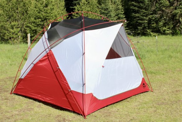 This photo shows the MSR Habitude 4 Tent setup during the testing and review process.