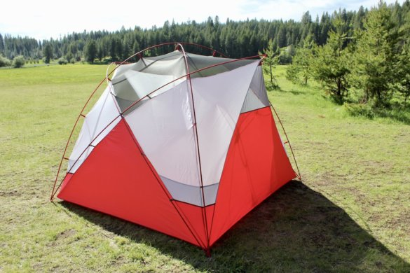This photo shows the rear of the MSR Habitude tent.