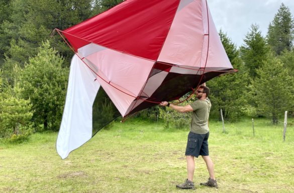 This photo shows the author testing the MSR Habitude 4 Tent while on a camping trip during the review process.