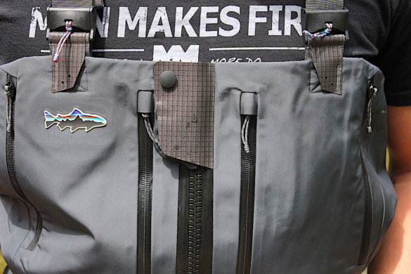 This photo shows a closeup of the Patagonia Swiftcurrent Expedition Zip-Front Waders.