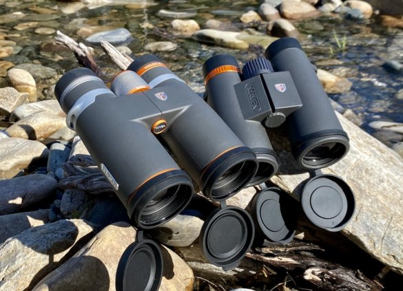 This test and review photo shows the Maven B.1 binoculars next to the Maven C.1 binoculars.