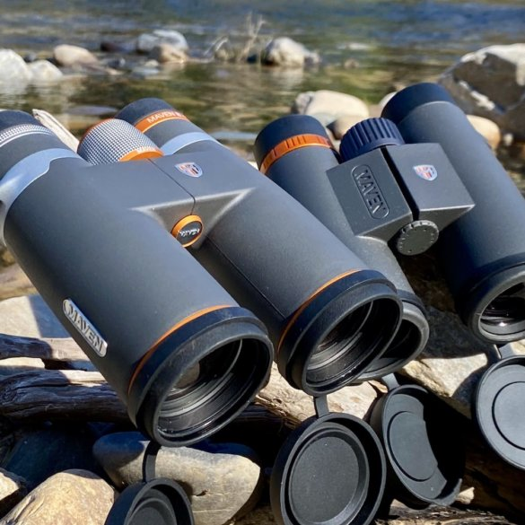 This test and review photo shows the Maven B.1 10x42 binoculars next to the Maven C.1 10x42 binoculars.