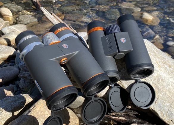 This review and testing photo shows the Maven B.1 10x42 binoculars next to the Maven C.1 10x42 Binoculars.
