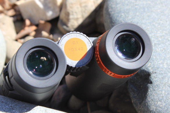 This photo shows the eyecups and focus wheel on the Maven C.1 Binoculars.