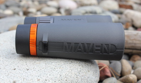 This review photo shows a side view of the Maven C.1 10x42 binoculars.