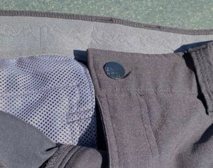 This photo shows a closeup of the waistband on the Stio Coburn XT Convertible Pants.