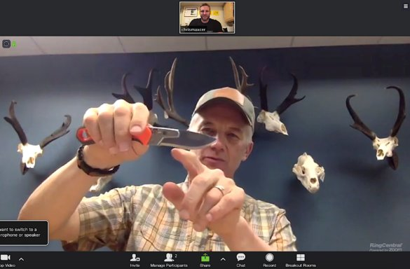This photo shows Randy Newberg describing the Gerber EBS hunting knife to author Chris Maxcer during a video conference call.