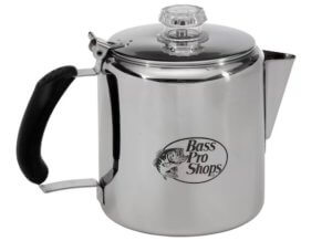 This camping gift guide photo shows the Bass Pro Shops Stainless Steel Percolator Coffee Pot for camping.