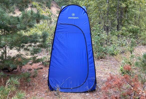This camping gift photo shows the Stansport Pop-up Privacy Shelter.