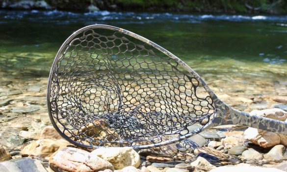 This photo shows a closeup of the rubber bag of the Fishpond Nomad Mid-Length Net.