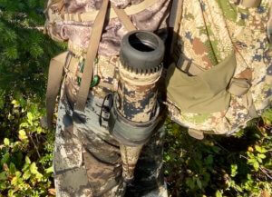 This photo shows a bugle tube holder for archery elk hunting.