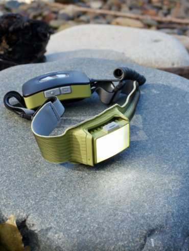 This review photo shows the BioLite HeadLamp 750.