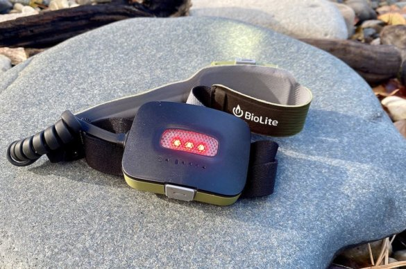 This photo shows the rear red light on the BioLite HeadLamp 750.