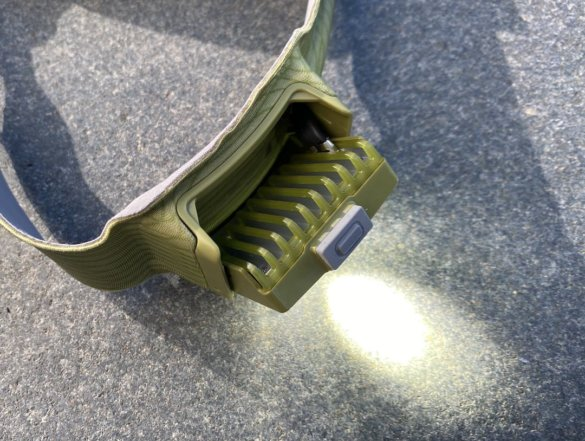 This photo shows the main headlight on the BioLite HeadLamp 750.