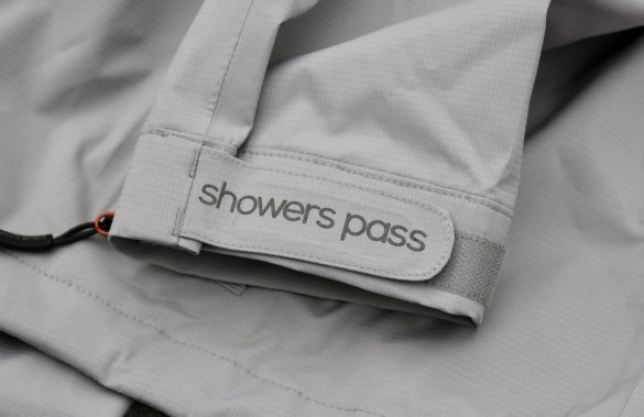 This photo shows a close up of the Showers Pass sleeve cuff.