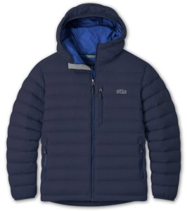 This best down jacket guide photo shows the men's Stio Hometown Down Hooded Jacket.
