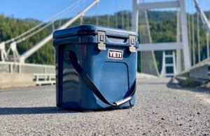 This photo shows the YETI Roadie 24 hard-sided cooler.