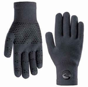 This photo shows both sides of the Crosspoint Waterproof Knit Wool Gloves.