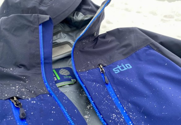 This photo shows a closeup of the men's Stio Objective Pro ski shell jacket.