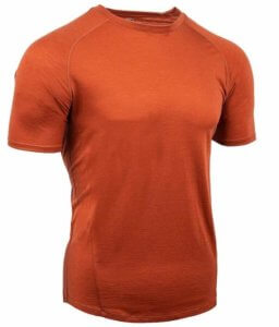 This photo shows the men's short sleeve Showers Pass Apex Merino Tech Shirt.