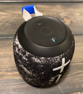 This photo shows the top of the Ultimate Ears Wonderboom 2 bluetooth speaker.