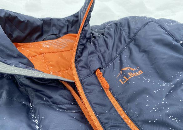 This photo shows a closeup of the L.L.Bean men's PrimaLoft Packaway Jacket front.