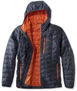 This photo shows the men's L.L.Bean PrimaLoft Packaway Hooded Jacket.