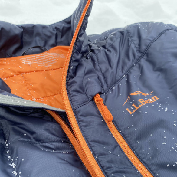 This review photo shows a closeup of the men's L.L.Bean PrimaLoft Packaway Jacket.