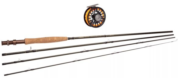 This photo shows the Cabela's Bighorn Fly Outfit fly fishing rod, reel, and fly line combo.