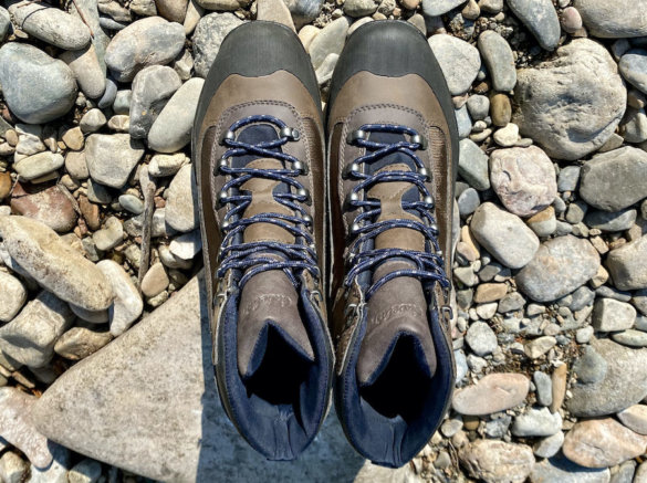 This photo shows the Cabela's Hiker Wading Boots from the top.