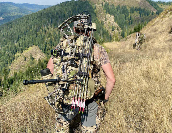 This photo shows the author wearing the Mystery Ranch Sawtooth 45 backpack while testing the pack while bow hunting for elk.