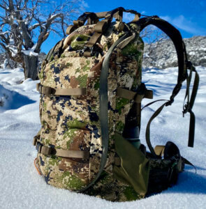 This photo shows the side zipper on the Mystery Ranch Sawtooth 45 hunting pack.