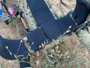 This photo shows the back panel and hi-belt of the Mystery Ranch Sawtooth 45 backpack.