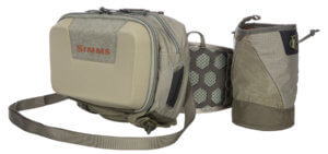This photo shows the Simms Hip Hybrid System fly fishing waist pack.