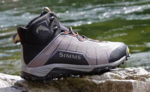 This review photo shows the Simms Flyweight Wading Boot for men.