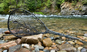 This review and testing photo shows the Fishpond Nomad Mid-Length Net near a river during the testing and review process.