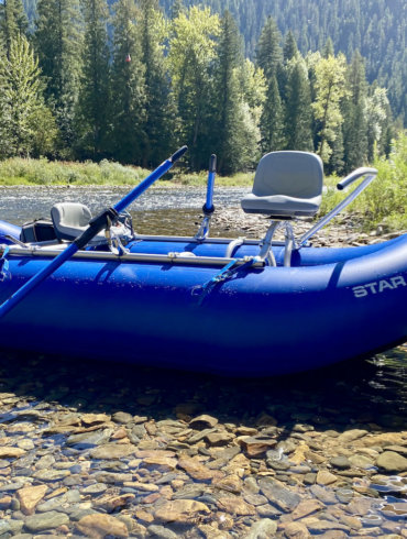 This photo shows the NRS STAR Wonder Bug Raft on a fishing trip during the review and testing process.